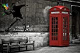 Banksy / Love is in the air Wall decoration - Red Telephone Booth Motif - Wallpaper by GREAT ART (55 Inch x 39.4 Inch)