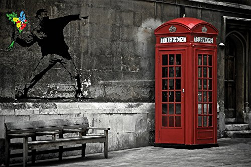 Great Art Banksy/Love is in The air Wall Decoration - Red Telephone Booth Motif - Wallpaper (55 Inch x 39.4 Inch) ()