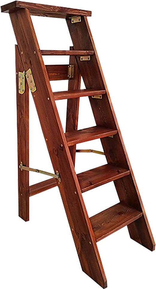 XWZJY Escalera Grande Espesamiento Madera Maciza Escalera Plegable con Pedal Ancho de 6 Pasos para Patio/Interior y Exterior, Altura 120 cm, Carga máxima 100 kg: Amazon.es: Hogar