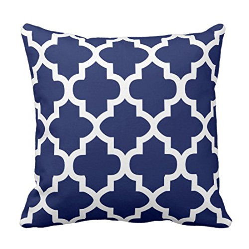 Emvency Throw Pillow Cover Rich Navy Blue and White Quatrefoil Pattern Decorative Pillow Case Moroccan Home Decor Square 16 x 16 Inch Cushion (White Stripe Striped Wallpaper)