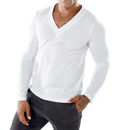 NEARTIME Men's Shirts, Autumn Fashion Casual Patchwork Tops Mesh Long Sleeve V-Neck Pollover Blouse White