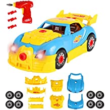 Build Your Own Take Apart Car With Toy Power Drill, Lights and Sounds - More Than 30 Pieces – Fix, Remodel, Drive and Play Racing Car or Convertible - by ToyThrill