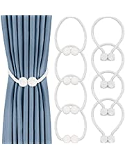 8 Pack Magnetic Curtain Tiebacks,Convenient Drape Tie Backs Decorative Curtain Holdbacks Holder Curtain Tiebacks for Window Draperies, No Tools Required- Square and Pearl Shape (White)