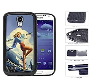 Pin Up Model US Air Force Aircraft 2-Piece Dual Layer High Impact Rubber Silicone Cell Phone Case Samsung Galaxy S4 SIV I9500