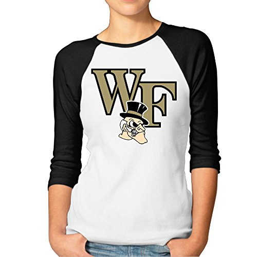 RERR Women's Wake Forest University Raglan Tee Baseball Shirt Black Size L