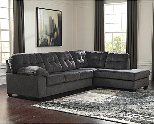 StarSun Depot Signature Design by Ashley Accrington 2-Piece Left Side Facing Sofa Sectional in Granite Microfiber 121