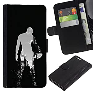 All Phone Most Case / Oferta Especial Cáscara Funda de cuero Monedero Cubierta de proteccion Caso / Wallet Case for Apple Iphone 6 PLUS 5.5 // BASKETBALL CITY SILHOUETTE