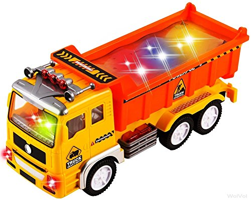 WolVol Electric Dump Truck Toy for Kids with Stunning 4D Flashing Lights and Sounds Music, Bump and Go Action changes directions on contact
