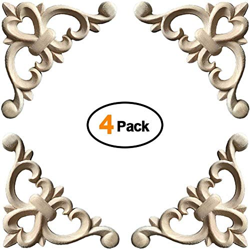 WINGOFFLY Wood Carved Onlay Corner Unpainted Applique Frame for Decoration Home Furniture Doors Windows Elegance 4 ()