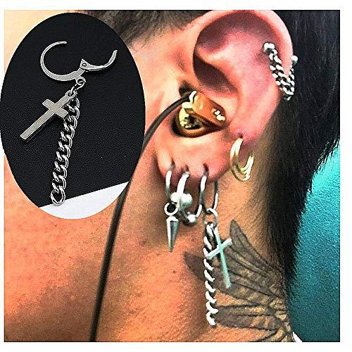 (YRY Cross Chain Stud Earrings Personalized Hypoallergenic Non-Fading Ear Bones for Men and Women (Cross))