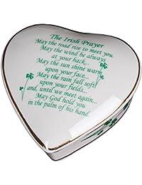 Irish Prayer White Porcelain Heart Jewelry Box