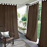 "Blackout Outdoor Curtain Tab Top Chocolate 52"" W x 102"" L For Front Porch, Pergola, Cabana, Covered Patio, Gazebo, Dock, and Beach Home (1 Panel)."