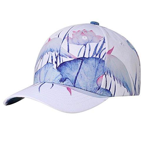 Fashionwu Lotus Baseball Cap Chic Peaked Hip-Hop Hat by Fashionwu
