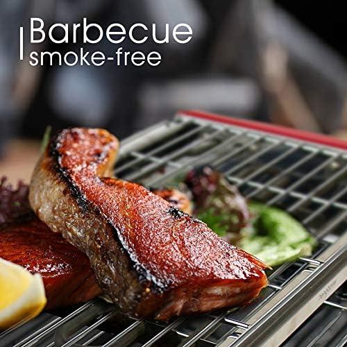 Barbecue Électrique Bbq Plancha Electrique Barbecue Grill Electrique de Table Température Réglable 2200W Convient pour Balcon Interieur Exterieur