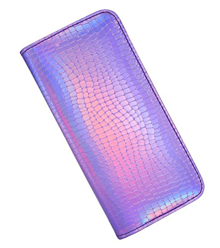 - Long Wallet for Women With zipper Holographic Clutch Wallet Pouch Purse (Purple)