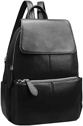 00a147034d96 Heshe Womens Leather Backpack Casual Daypack Ladies Fashion Bag (Black-R)