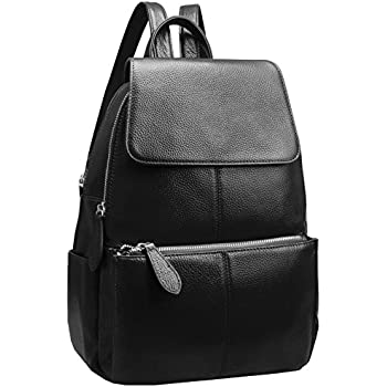 8c7de77b86 Heshe Womens Leather Backpack Casual Daypack Ladies Fashion Bag (Black-R)