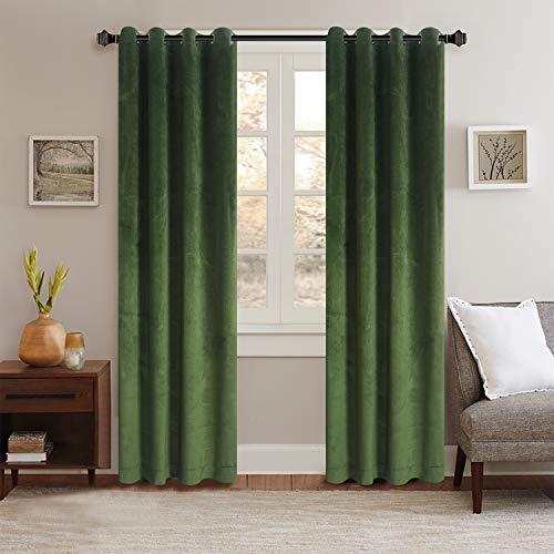 Classic Velvet Mossy Green Set of 2 Blackout Velvet Energy Efficient Grommet Drapes Room Darkening Curtains Panel Drapery 52 by 84-Inch (2 Panels)