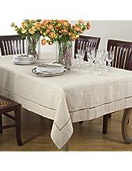 """Handmade Hemstitch Design Natural Tablecloth. One Piece. 65""""x104"""" Rectangular."""