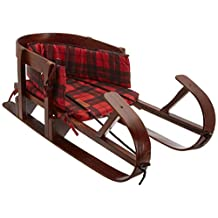 Lucky Bums Heirloom Collection Wooden Baby Boggan Sled with Plaid Pad