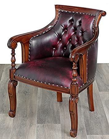 Moreko Antik Stil Stuhl Massiv Holz Sessel Mahagoni Bibliotheksstuhl