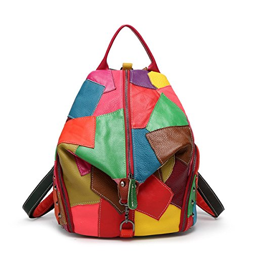 Women Stitching Colored Leather Shoulder Bag Fashion Travel Backpack Multi-coloured