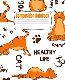 Amazon.com: Composition Notebook: Funny Yoga Cats Wide Ruled ...