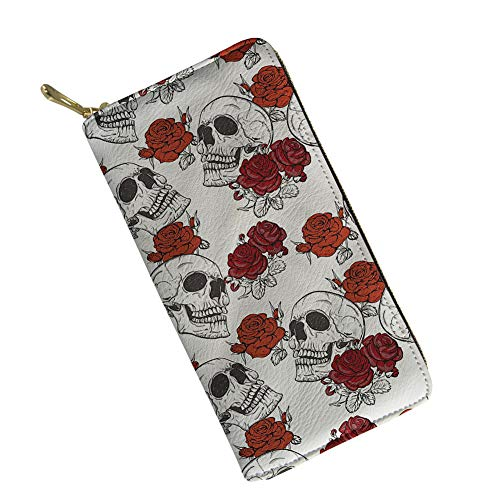 Women RFID Blocking Leather Wallet - Cool Rose Skull Printing Clutch Checkbook Wallet for Woman,White and Red