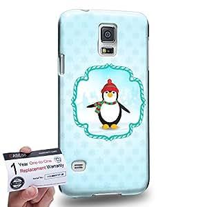 Case88 [Samsung Galaxy S5] 3D impresa Carcasa/Funda dura para & Tarjeta de garantía - Art Navidad Classics Navidad Penguin