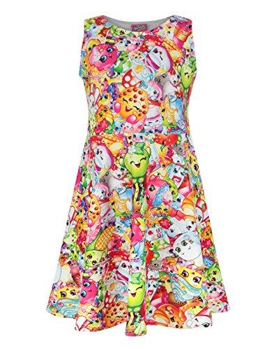 [Shopkins Girl's Skater Dress (UK 5-6 Years)] (Dress Accessories)