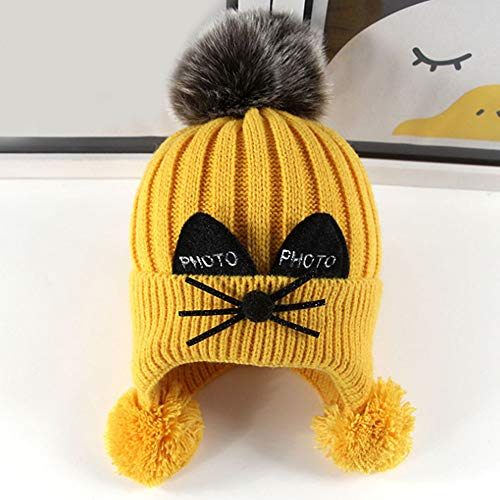 TFTEAM Children's Cartoon Knit Hat, Autumn and Winter Baby Wool Hat Caps Baby Embroidery Cat Warm Hat 1-4 Years