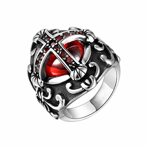 Carved Mens Knights Templar Cross Red Crystal Stainless Steel jewelry Rings Gift By Wat (12) - Bridal Knight