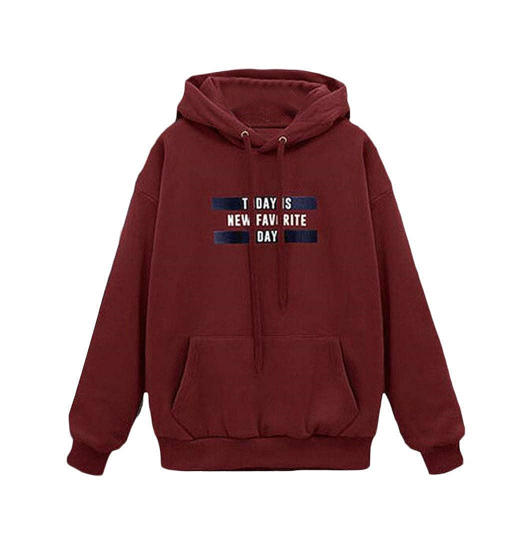 Joe Wenko Womens Loose Pocket Pullover Fleece Hooded Sweatshirts
