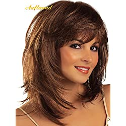 AmorWig Fashion Bob Middle Length Straight Layered Brown Hair Wigs for Women + Wig Cap