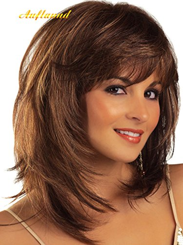 AmorWig Fashion Bob Middle Length Straight Layered Brown Hair Wigs for Women + Wig Cap -
