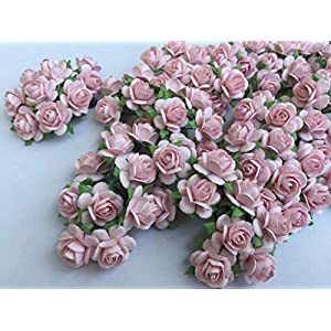 100 Pcs Hight Quality Pink Color Mulberry Paper Flowers of Wedding Roses : 15mm. By Thai Decorated' 2