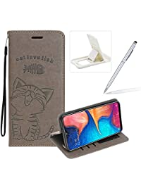 Strap Leather Case for Galaxy A20/A30,Gray Wallet Flip Case for Galaxy A20/A30,Herzzer Elegant Classic Solid Color Magnetic Cute Fish Cat Printed Stand PU Leather Case with Soft TPU