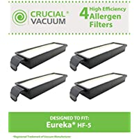 4 Replacements for Eureka HF-5 HEPA Style Filter Fits Eureka Sanitaire, Boss & Genesis, Compatible With Part # 61830, 61830A & 61840, Washable & Reusable, by Crucial Vacuum