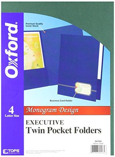 Oxford Exec Twin Pocket Folder, Monogram, 4 Pack, Green/Gold 04164