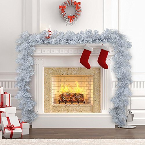 Hootech 9 Feet Christmas Garland Pine Artificial Decorations for Mantle Fireplace Indoor Outdoor Tinsel Ornaments XmasTree Decorations (White) by Hootech