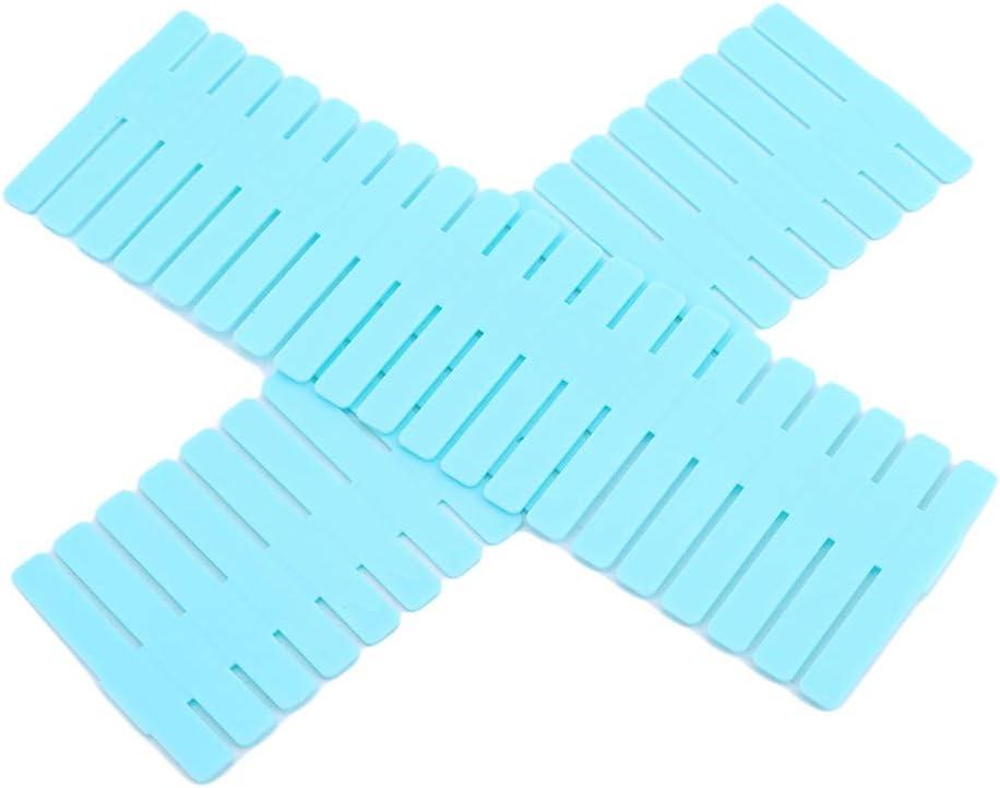 INSEET 4Pcs//Set Drawer Dividers Drawer Adjustable Drawer Dividers Plastic Drawer Organiser For Most Drawers Blue