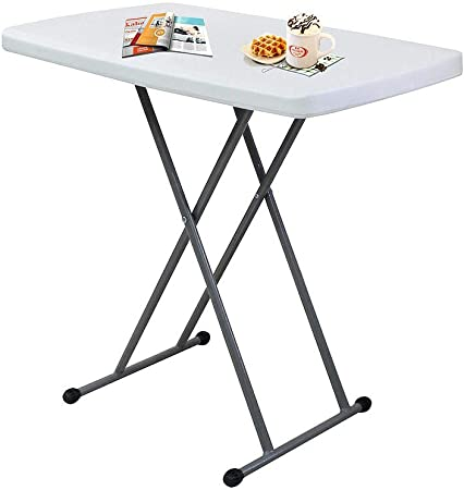 Sotech Table Pliable, Table Compacte et Pliable, Petite Table  Pliante,Matériau: HDPE, Table Pliante Ajustable, Blanc,76 x 50 x 51/63/74  cm, Table de ...