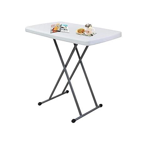 Sotech - Table Compacte et Pliable, Petite Table Pliante,Matériau: HDPE,  Table Pliante Ajustable, Blanc,76 x 50 x 51/63/74 cm, Table de Jardin ...