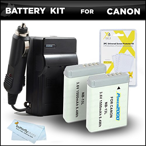 2 Pack Battery Charger Bundle Kit Canon PowerShot SX720 HS, Canon G7 X Mark II, G7 X, G9 X, G5 X Digital Camera Includes 2 Extended Replacement (1500Mah) NB-13L Batteries + Ac/Dc Charger +More -  ButterflyPhoto, AMAZ24165
