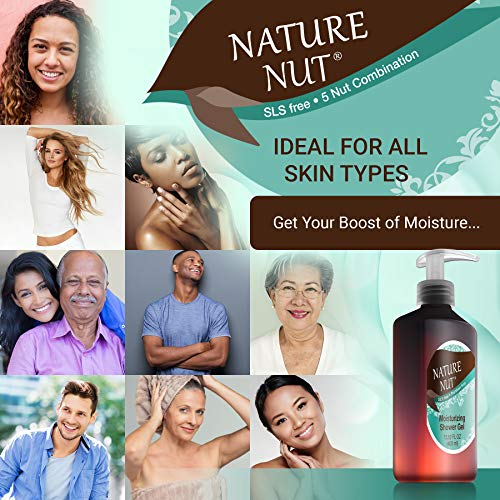 Nature Nut Shower Gel Body Wash Moisturizer - Hypoallergenic Moisturizing Bodywash 5 Nut Oil Hydration Formula for Women and Men Sensitive Dry Skin