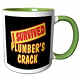 plumbers crack cover - 3dRose Dooni Designs Survive Sayings - I Survived Plumbers Crack Survial Pride And Humor Design - 11oz Two-Tone Green Mug (mug_118177_7)