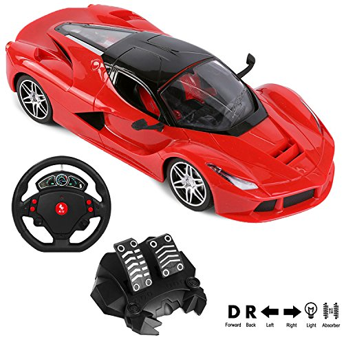 2.4Ghz RC Super Racing Sports Red Car LaFerrari [1:16 SCALE] (4 Channel) Pedal Controller + Gravity Steering Wheel Controller (Gravity Rig)