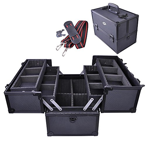 AW Aluminum Makeup Artist Train Case Cosmetic Lockable Organizer Box Shoulder Bag Storage With Dividers 6 Trays Black