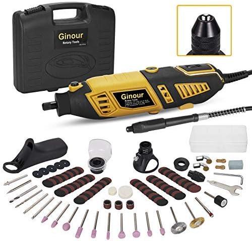 Mini amoladora eléctrica, Ginour Kit de herramientas rotatorias 170W Multifunción con 109 accesorios y 7 Velocidad Variable para DIY trabajos de cortar/lijar/grabar/limpiar/pulir: Amazon.es: Bricolaje y herramientas