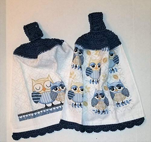 Blue Owls Set of 2 Crochet Top Hanging Kitchen Towel with Decorative Bottom Edge